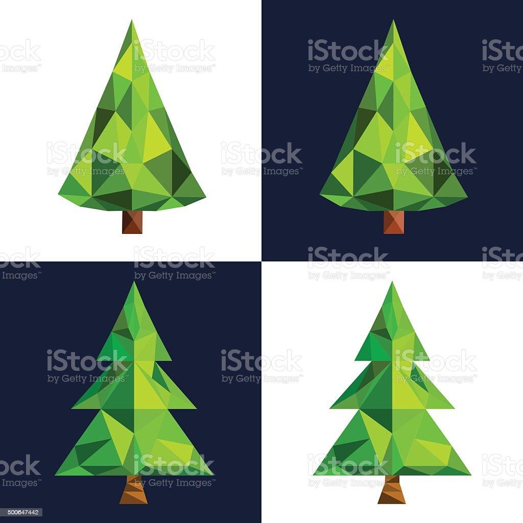 Sapin De Noël 3d Pixel Art à Lowpoly Icône Vecteurs Libres