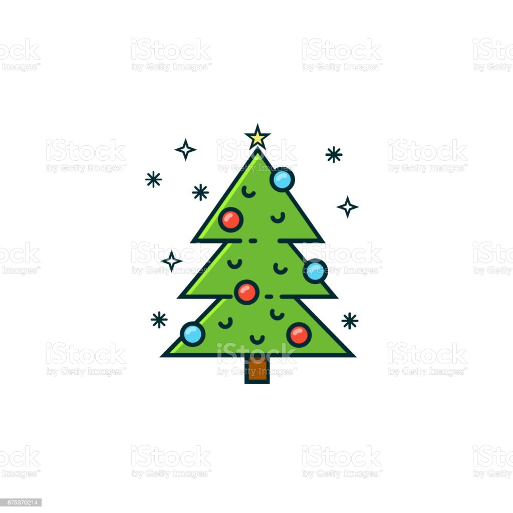 Christmas Tree Flat Color Line Icon On Isolated Background Xmas Tree ...