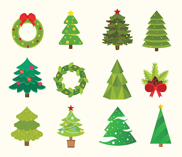 christmas tree flat icons set vector art illustration - Christmas Tree Clip