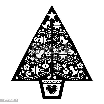 istock Christmas tree folk art vector design - Scandinavian black and white pattern with birds, flowers and snowflakes 1178325212