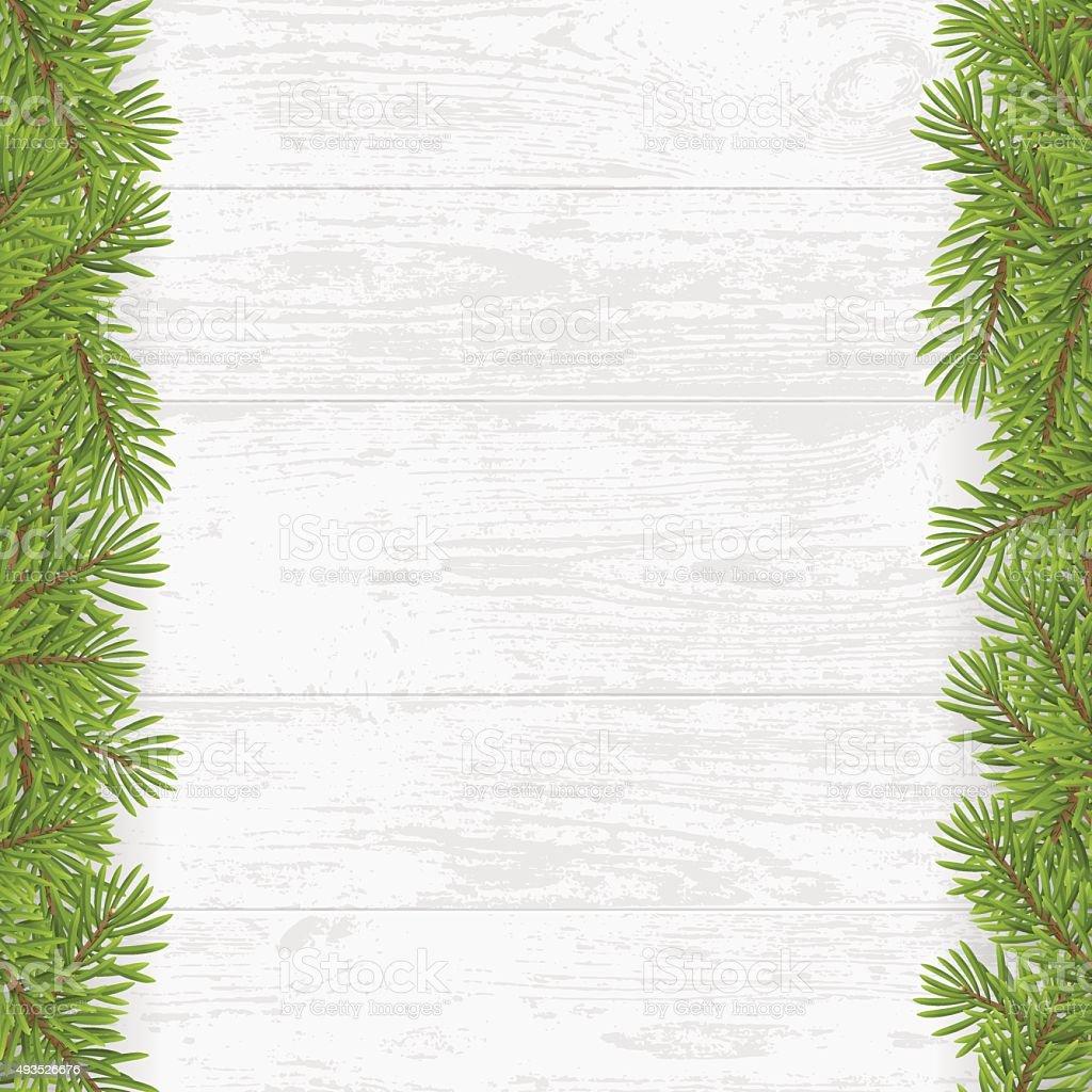 Christmas Tree Frame On Wood Plank White Background Stock Vector Art ...