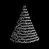 Christmas tree from lights  design isolated on black background
