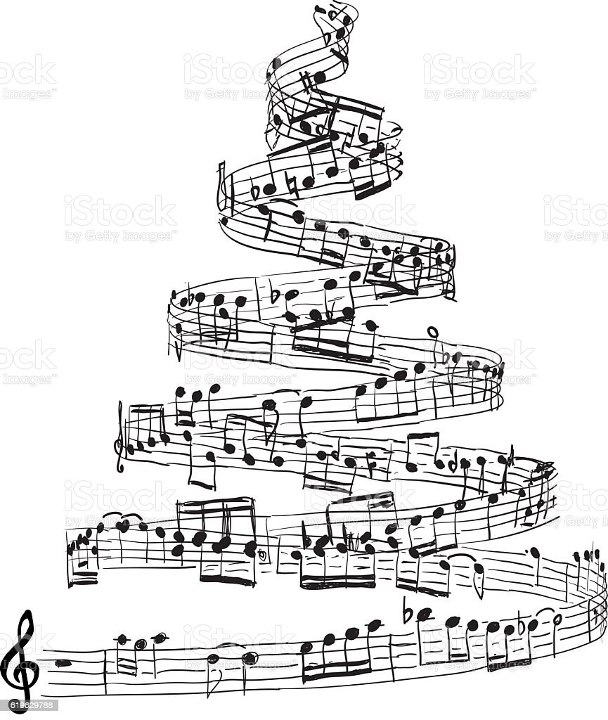 Christmas tree from music notes vector art illustration