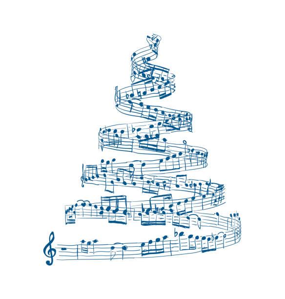 bildbanksillustrationer, clip art samt tecknat material och ikoner med julgran från noter. vektor - orkester