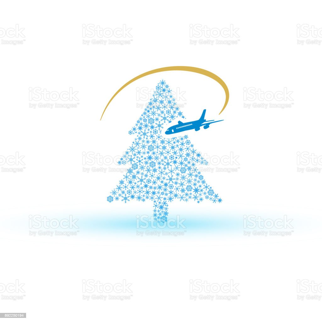 christmas tree from snowflake with airplane eps10 vector art illustration