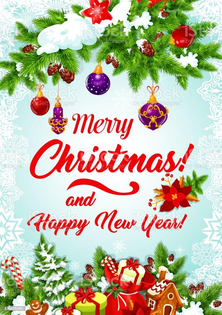 Weihnachtsbaum Girlande.Weihnachtsbaum Girlande Für Neujahr Grußkarte Stock Vektor Art Und