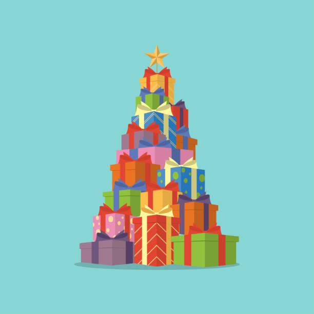 ilustraciones, imágenes clip art, dibujos animados e iconos de stock de cajas de regalo del árbol de navidad - gifts