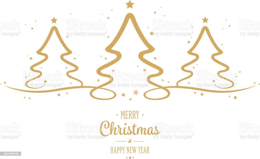 Christmas Tree Gold Stars Greetings White Background Stock