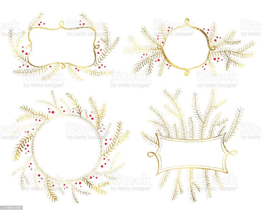 Ilustración De árbol De Navidad Marcos De Decoración Dorada
