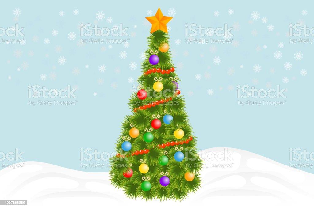Der Weihnachtsbaum.Weihnachtsbaum Grünen Weihnachtsbaum Mit Dekorationen Und Girlanden