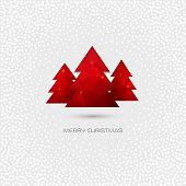 Red Christmas tree. Merry Christmas greeting card. Vector polygonal design