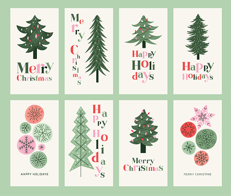 Set of retro Christmas cards with Christmas trees and colorful snowflakes. Editable vectors on layers.