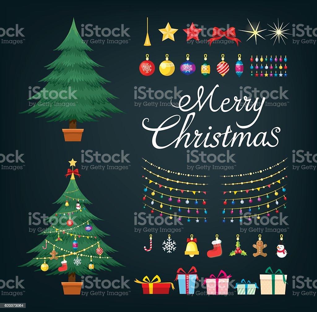 Christmas tree greetings set with decorative Xmas objects christmas tree greetings set with decorative xmas objects - stockowe grafiki wektorowe i więcej obrazów bal royalty-free