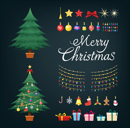 Christmas tree greetings set with decorative Xmas objects