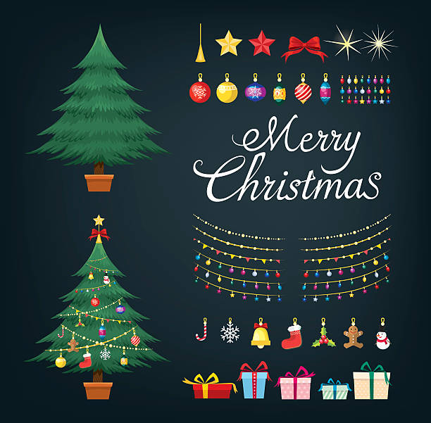 ilustrações de stock, clip art, desenhos animados e ícones de christmas tree greetings set with decorative xmas objects - christmas tree