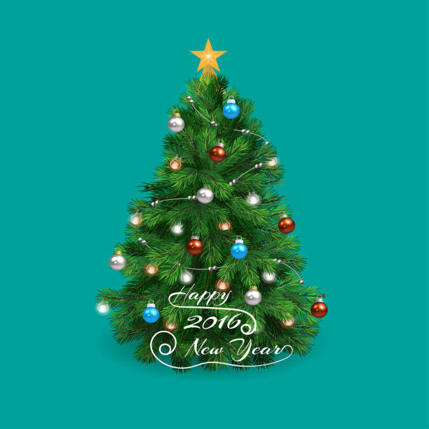 ilustrações de stock, clip art, desenhos animados e ícones de christmas tree happy 2016 new year with shadow - christmas tree