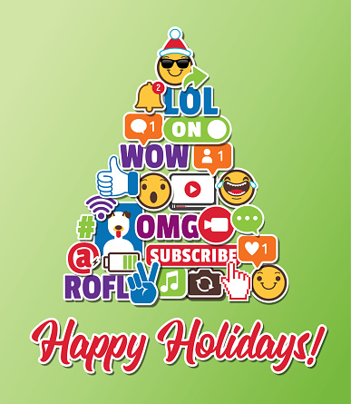 Christmas Tree Holiday Greeting Card with Social Media Emoticons Internet Online Chat Icons