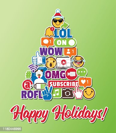 Christmas Christmas Tree Holiday Greeting Card with Internet Acronyms (LOL, ROFL, OMG, WOW, LMAO)Social Media Networking Smart Phones Emoticons Online Chat Slang Icons Stickers