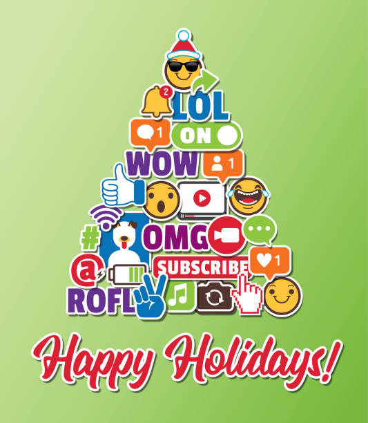 Christmas Tree Holiday Greeting Card with Social Media Emoticons Internet Online Chat Icons vector art illustration