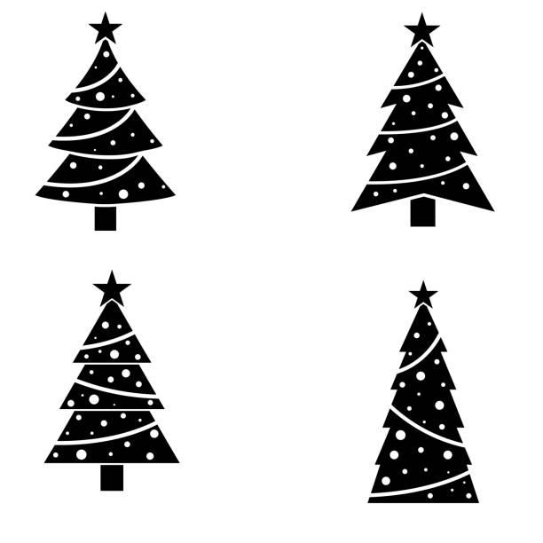 Christmas tree holiday icon, logo isolated on white background Christmas tree holiday icon, logo isolated on white background christmas trees stock illustrations