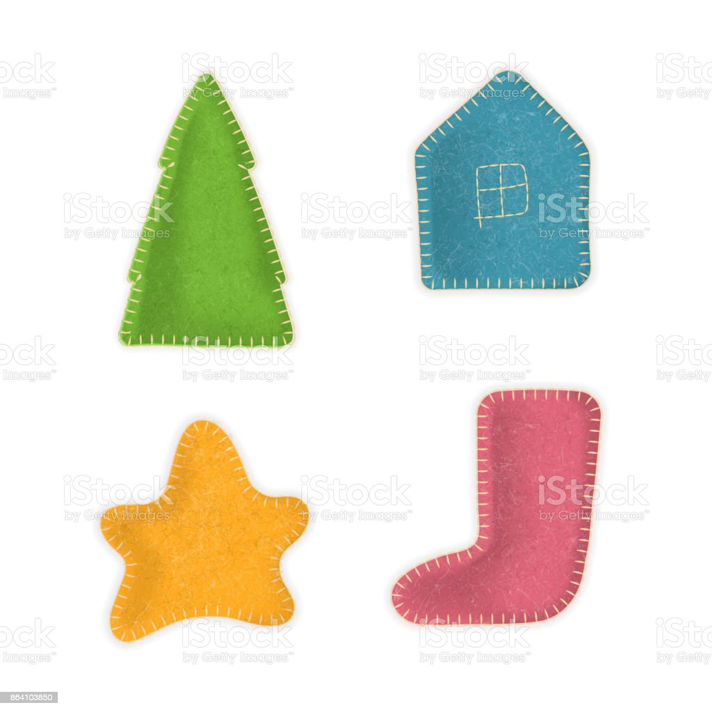 Christmas tree, house, star, stocking made of felt cloth with stitches. royalty-free christmas tree house star stocking made of felt cloth with stitches stock vector art & more images of boot