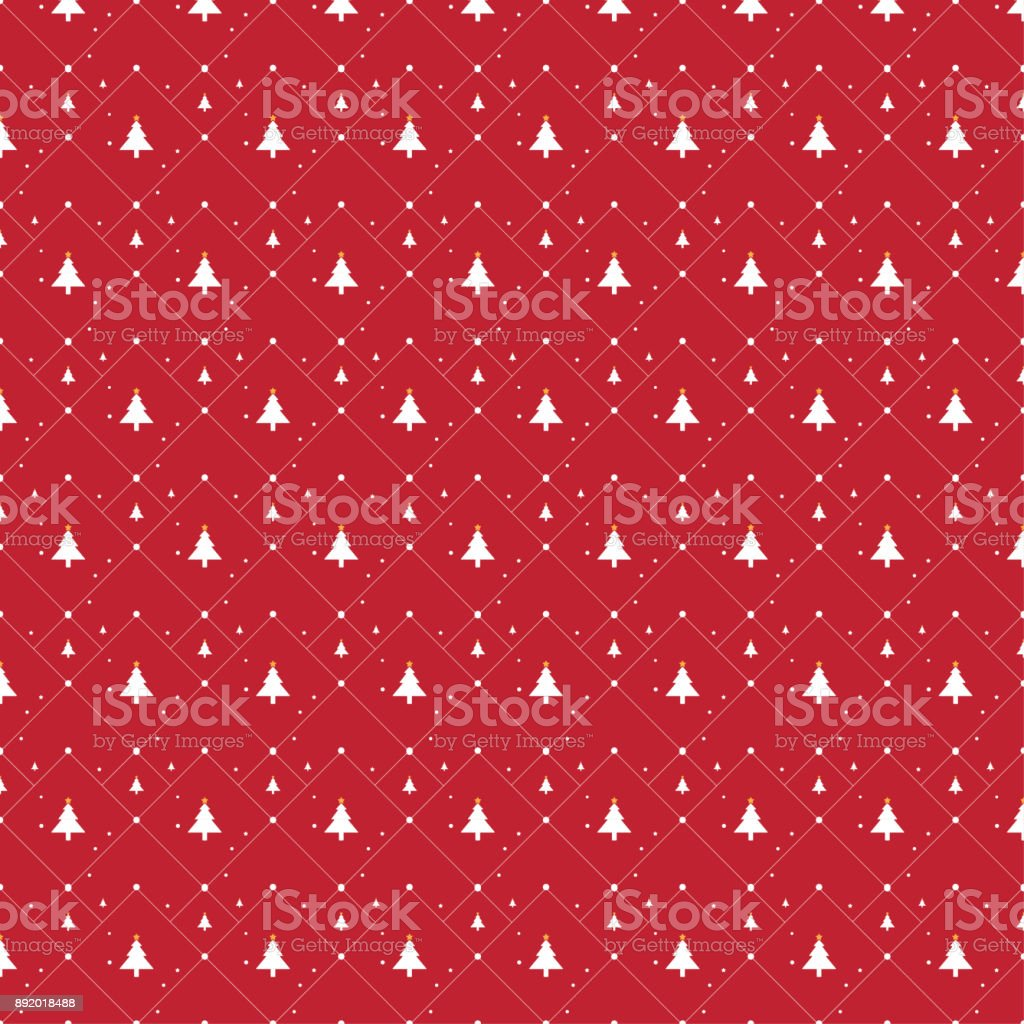 Christmas tree icon illustration seamless pattern on red background