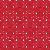 Christmas tree icon illustration seamless pattern on red background for gift wrapping paper