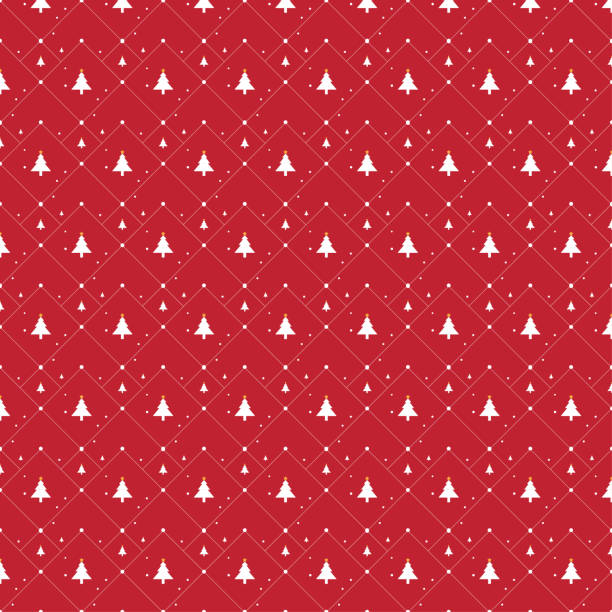 christmas tree icon illustration seamless pattern on red background - papier do pakowania stock illustrations