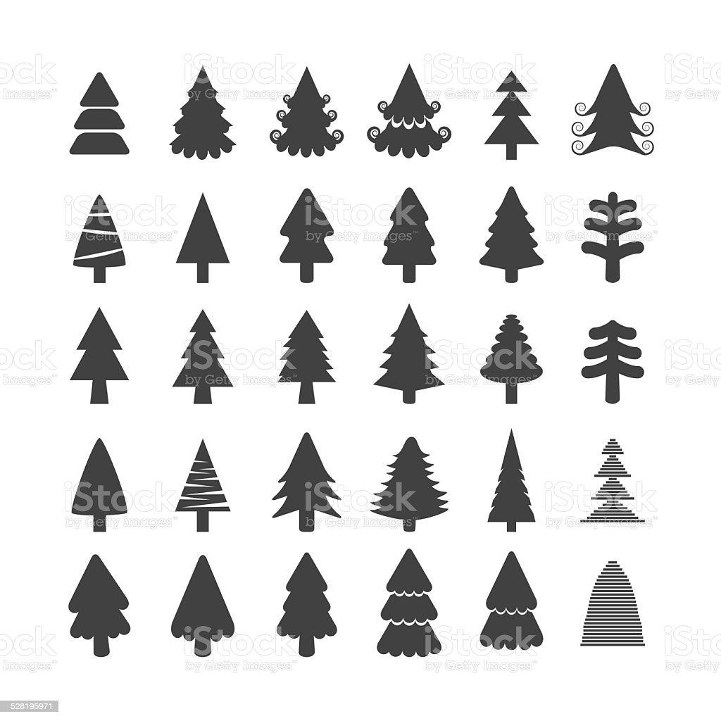 christmas tree icon set, vector eps10 vector art illustration