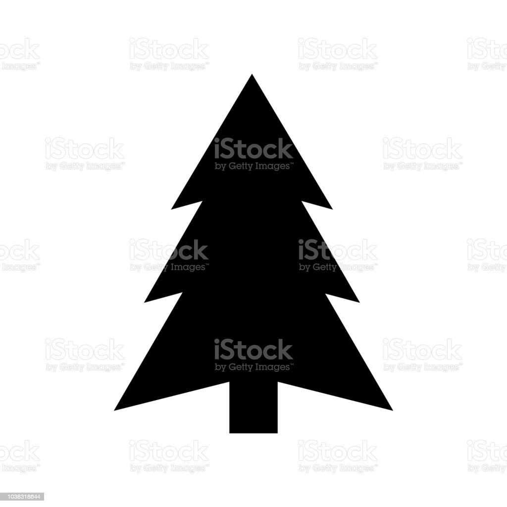 Christmas Tree Icon Silhouette On White Background Stock Illustration Download Image Now
