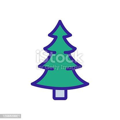 istock Christmas tree icon vector. Isolated contour symbol illustration 1206839921