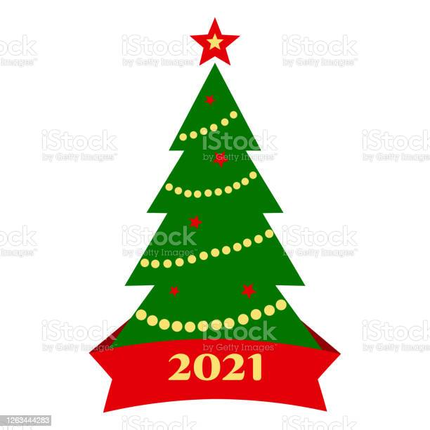 2021 Christmas White Background 2021 Christmas Tree Icon With Decoration And Ribbon Isolated On White Background Vector Stock Illustration Download Image Now Istock