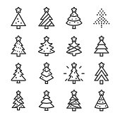 Christmas Tree Icons - Line Series