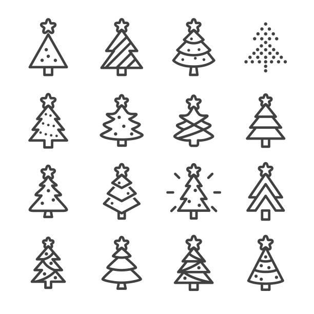 bildbanksillustrationer, clip art samt tecknat material och ikoner med julgran ikoner - line serien - christmas tree