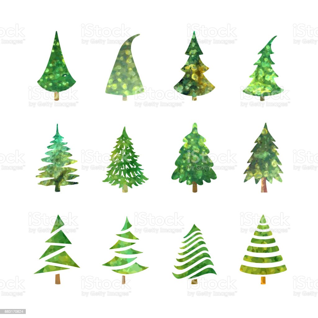 Christmas Tree Icons Set Stock Vector Art & More Images of Badge ...