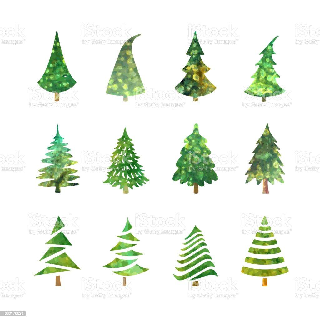 Christmas tree icons set vector art illustration