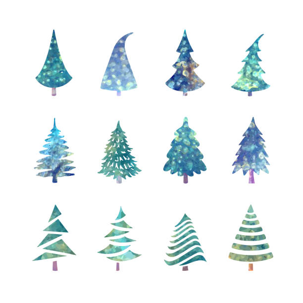 christmas tree icons set - blue clipart stock illustrations