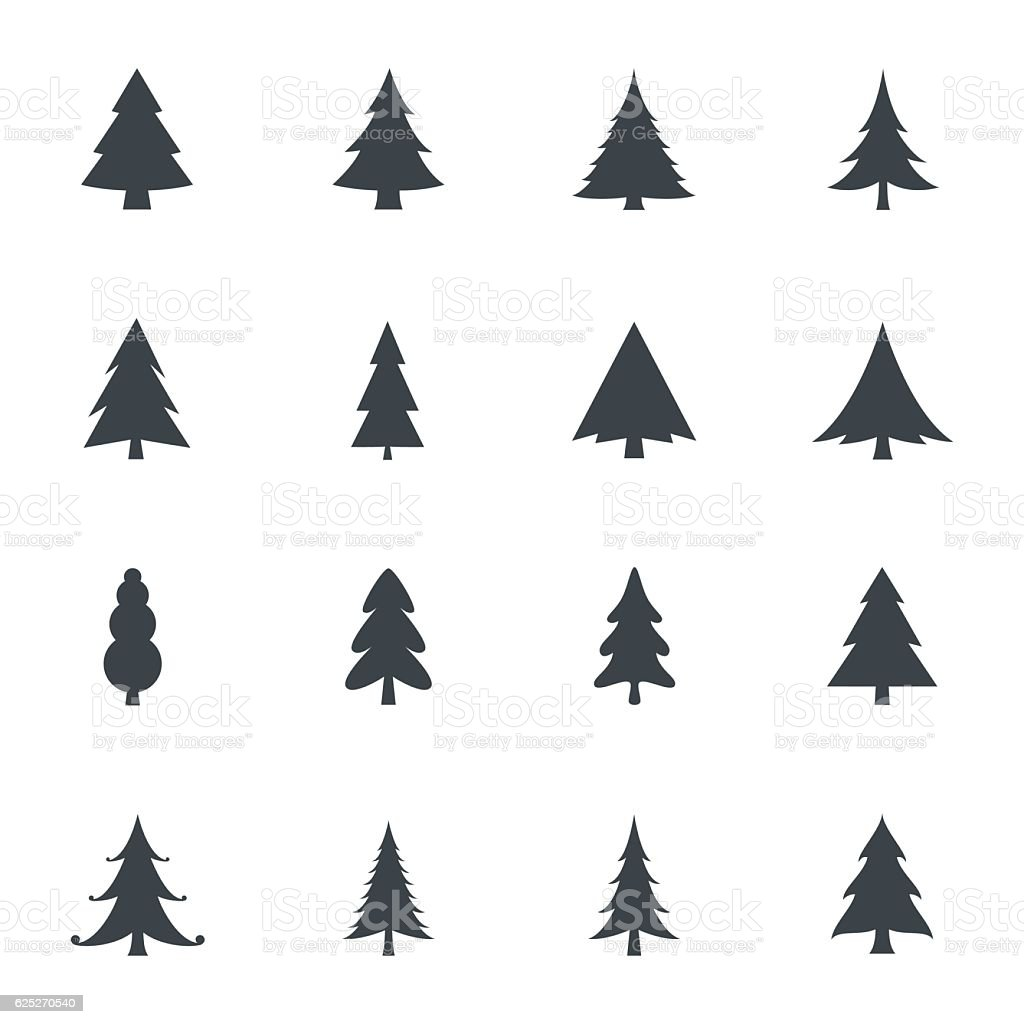 Christmas tree icons vector art illustration