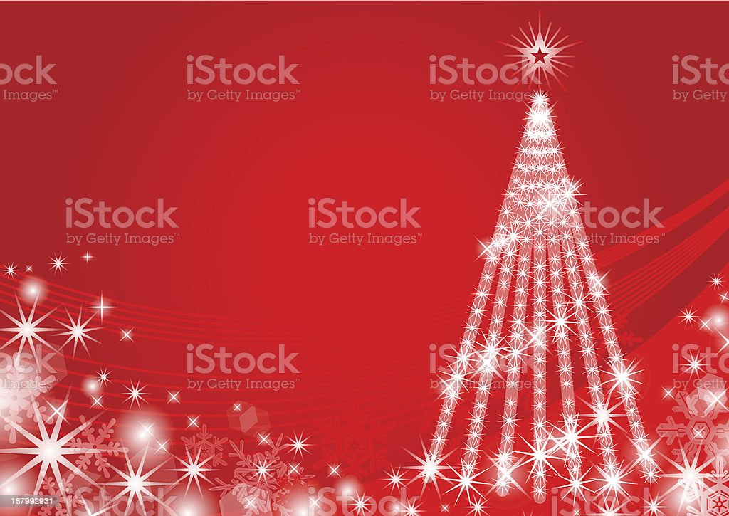 Christmas tree Illuminated,red color-EPS10 vector art illustration