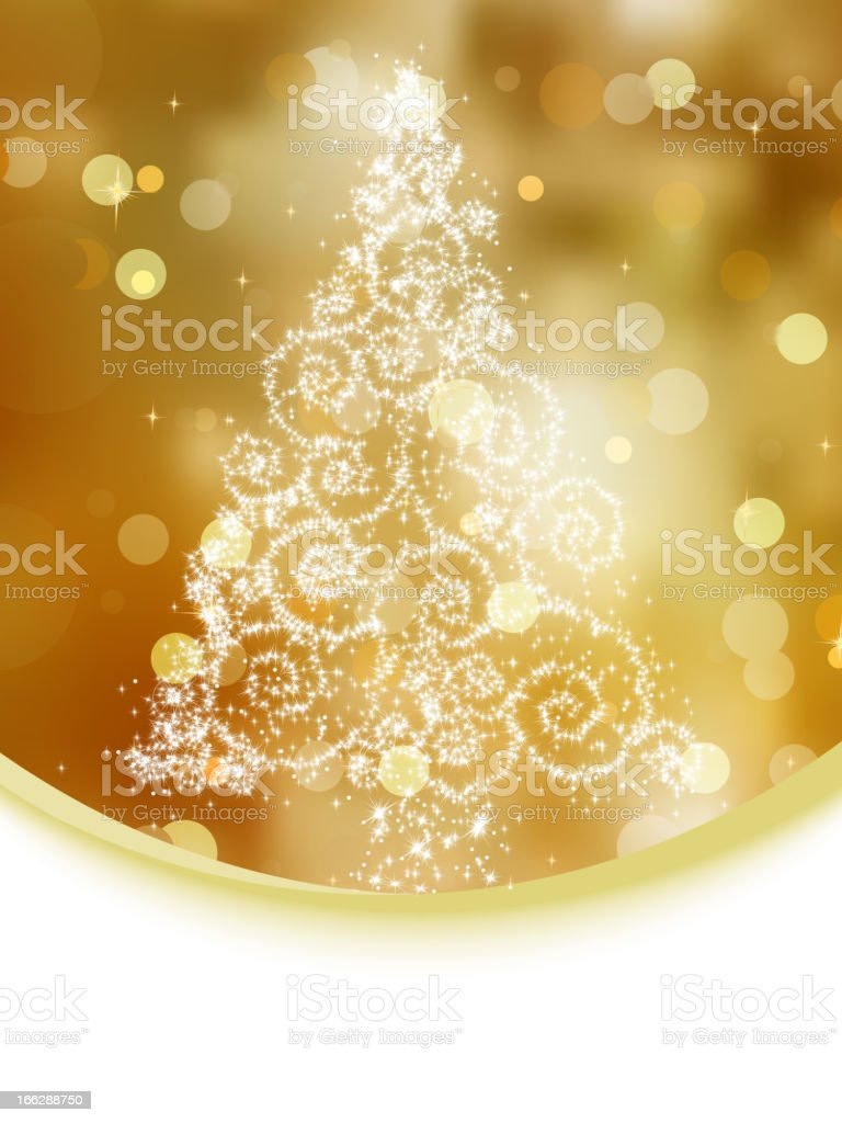 Christmas tree illustration on gold bokeh. EPS 8 royalty-free stock vector art