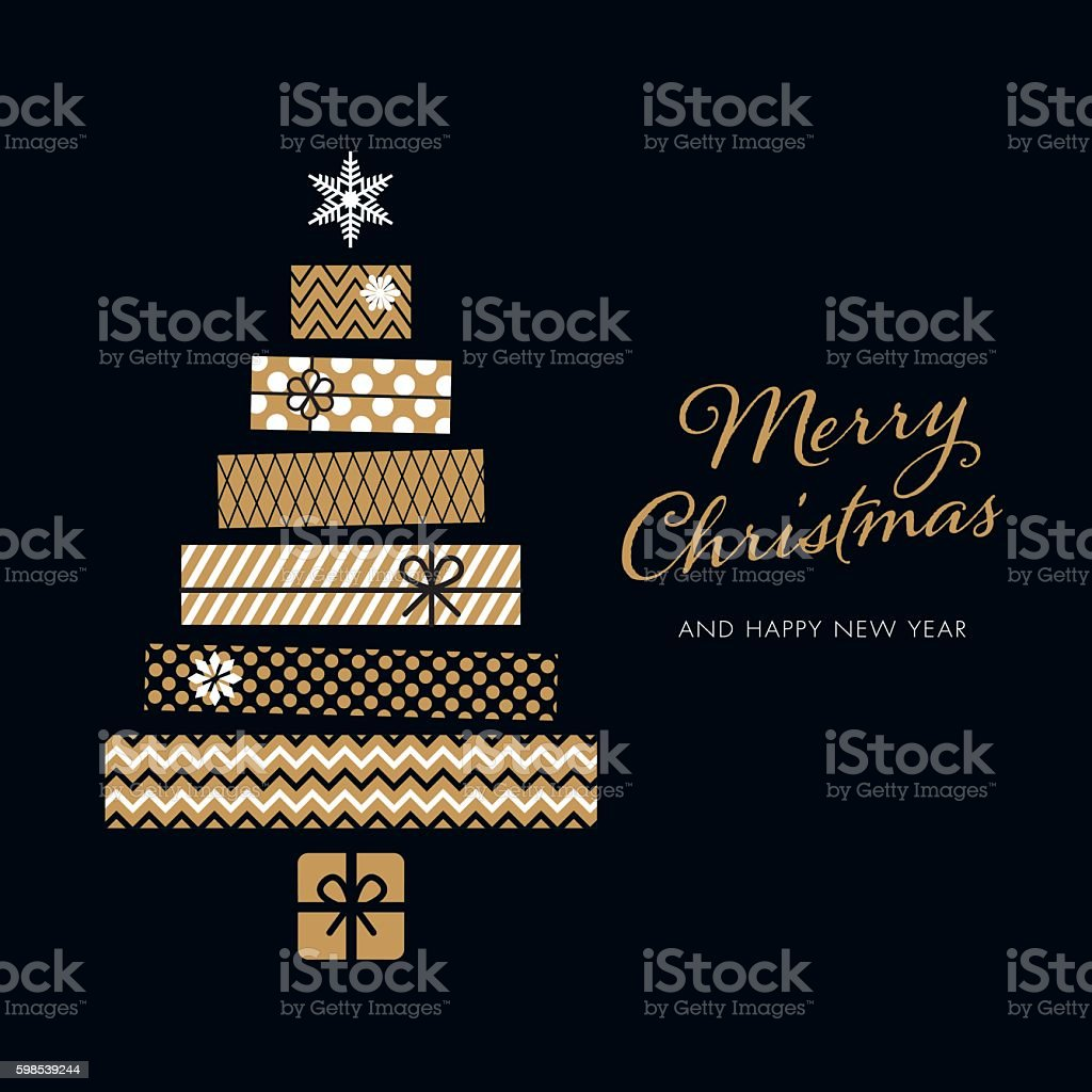 Christmas Tree - Illustration Christmas Tree made with gift box Black Background stock vector