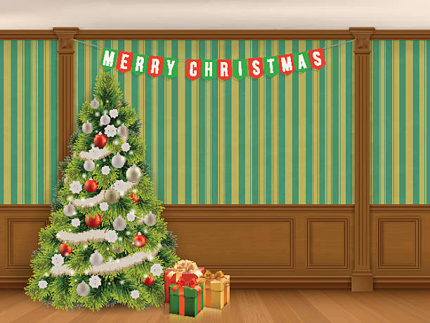 christmas tree in cabinet with wooden panels - карниз stock illustrations