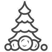 Christmas tree in snow and snowballs line icon, World snow day concept, fir-tree sign on white background, Christmas tree icon in outline style for mobile and web design. Vector graphics
