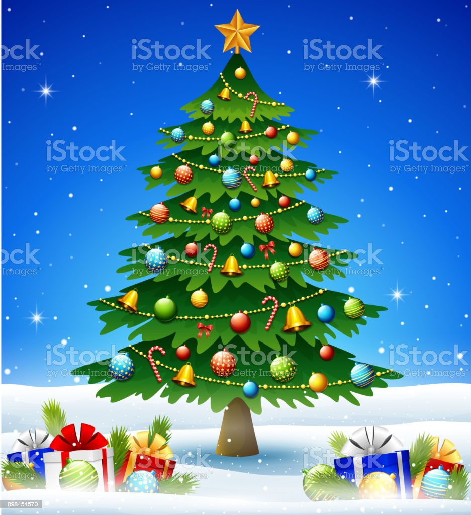 Christmas tree in winter background with gift boxes and balls vector art illustration