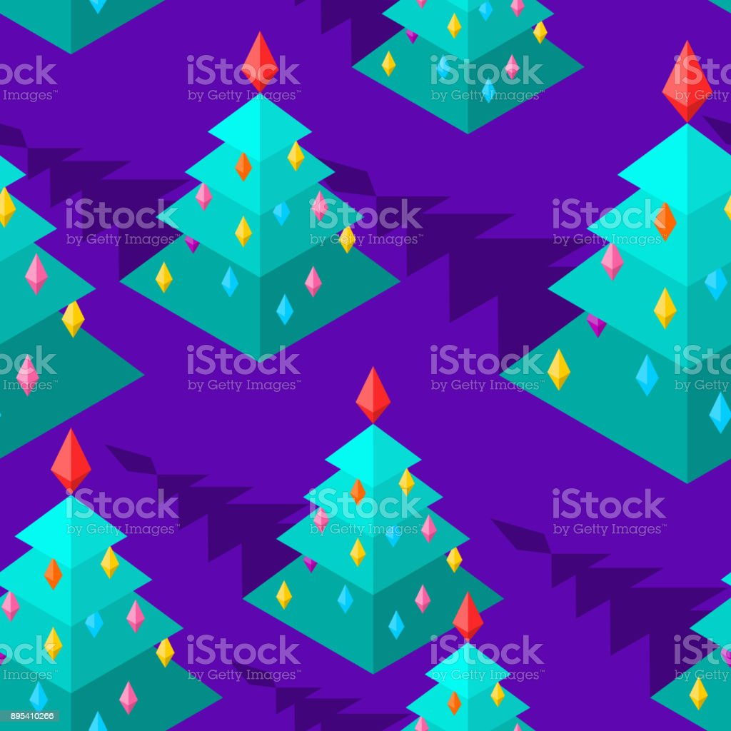 christmas tree isometric style pattern christmas ornament new year vector background royalty free