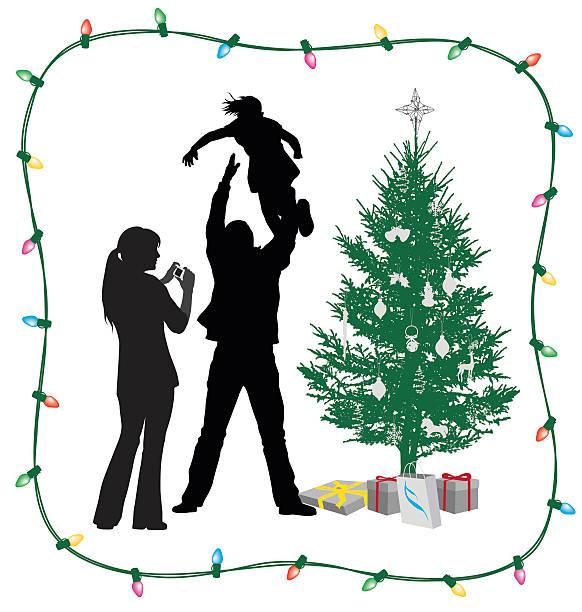 bildbanksillustrationer, clip art samt tecknat material och ikoner med christmas tree joy - christmas gift family