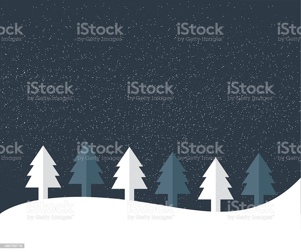 Christmas Tree Land Snow Flakes Falling In The Night Stock Vector