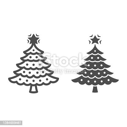 istock Christmas tree line and solid icon, New Year concept, fir-tree sign on white background, Christmas tree with decorations and star icon in outline style for mobile and web design. Vector graphics. 1284659461