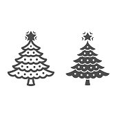 Christmas tree line and solid icon, New Year concept, fir-tree sign on white background, Christmas tree with decorations and star icon in outline style for mobile and web design. Vector graphics