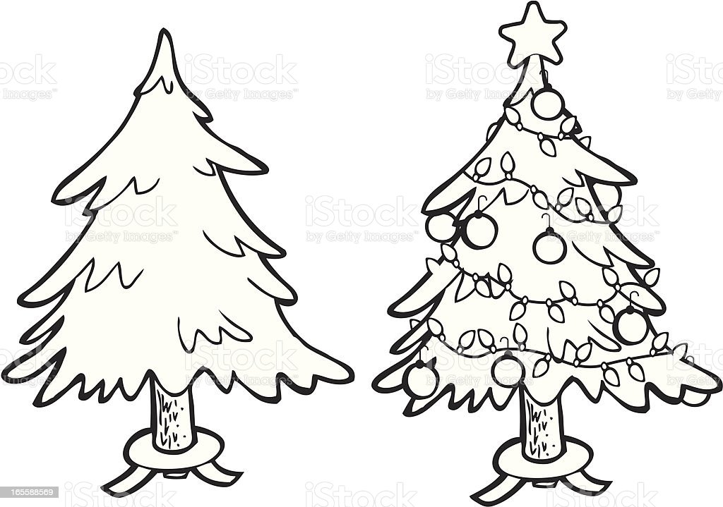 Line Drawing Christmas : Christmas tree line art stock vector more images of